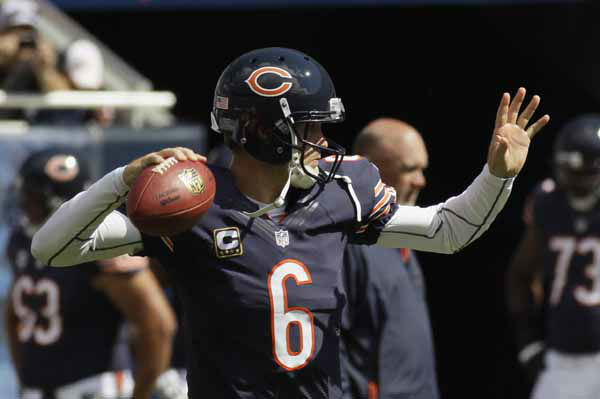 Chicago Bears quarterback Jay Cutler warms up before an NFL football game against the Indianapolis Colts in Chicago, Sunday, Sept. 9, 2012. &#40;AP Photo&#47;Nam Y. Huh&#41; <span class=meta>(AP Photo&#47; Nam Y. Huh)</span>
