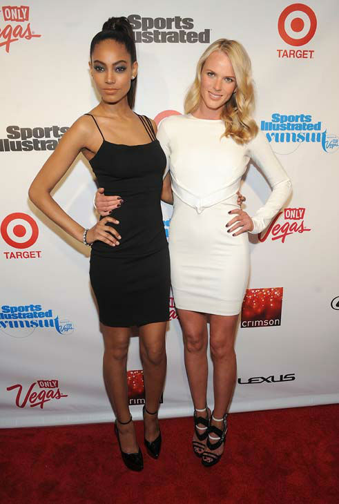 Model Ariel Meredith, left, and  Anne V attend the 2013 Sports Illustrated Swimsuit issue launch party at Crimson on Tuesday, Feb. 12, 2013 in New York.&#40;Photo by Brad Barket&#47;Invision&#47;AP&#41; <span class=meta>(AP Photo&#47; Brad Barket)</span>