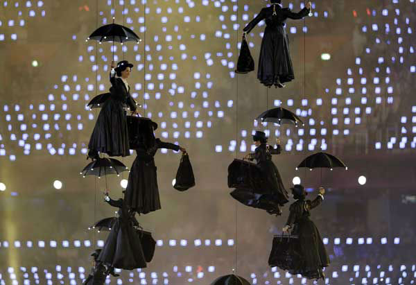 Actors dressed as Mary Poppins perform during the Opening Ceremony at the 2012 Summer Olympics, Friday, July 27, 2012, in London. &#40;AP Photo&#47;Mark Humphrey&#41; <span class=meta>(AP Photo&#47; Mark Humphrey)</span>