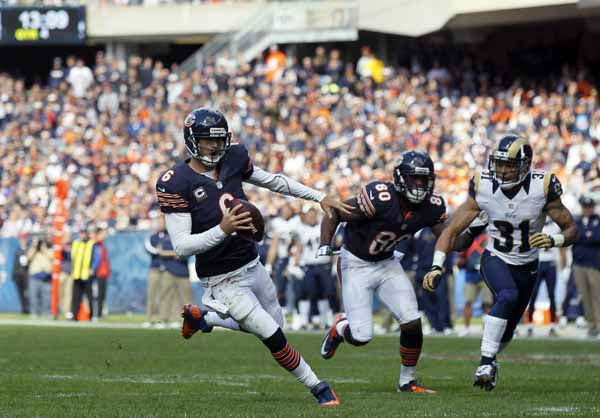 Chicago Bears quarterback Jay Cutler &#40;6&#41; runs in the second half of an NFL football game against the St. Louis Rams in Chicago, Sunday, Sept. 23, 2012. &#40;AP Photo&#47;Charles Rex Arbogast&#41; <span class=meta>(AP Photo&#47; Charles Rex Arbogast)</span>