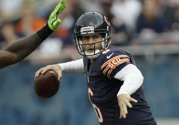 Chicago Bears quarterback Jay Cutler &#40;6&#41; passes against the Seattle Seahawks in the first half of an NFL football game in Chicago, Sunday, Dec. 2, 2012. &#40;AP Photo&#47;Nam Y. Huh&#41; <span class=meta>(AP Photo&#47; Nam Y. Huh)</span>