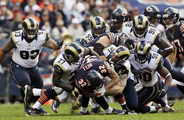 "<div class=""meta ""><span class=""caption-text "">Chicago Bears running back Kahlil Bell (32) is gang tackled by St. Louis Rams defenders in the second half of an NFL football game in Chicago, Sunday, Sept. 23, 2012. The Bears won 23-6. (AP Photo/Nam Y. Huh) (AP Photo/ Nam Y. Huh)</span></div>"