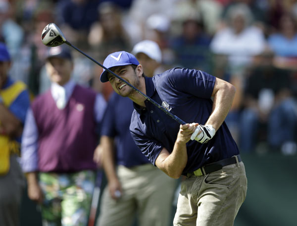 Justin Timberlake during a celebrity scramble event at the Ryder Cup PGA golf tournament Tuesday, Sept. 25, 2012, at the Medinah Country Club in Medinah, Ill.  (AP Photo/Chris Carlson)