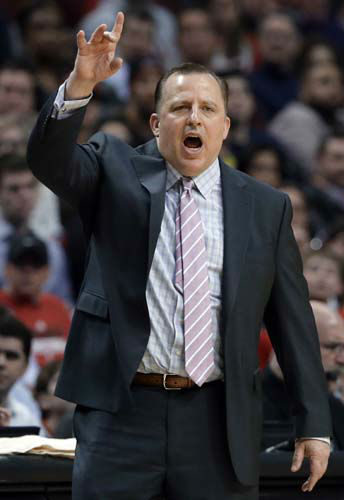 Chicago Bulls coach Tom Thibodeau shouts to his team during the second half of an NBA basketball game against the Miami Heat in Chicago on Wednesday, March 27, 2013. The Bulls won 101-97. &#40;AP Photo&#47;Nam Y. Huh&#41; <span class=meta>(AP Photo&#47; Nam Y. Huh)</span>