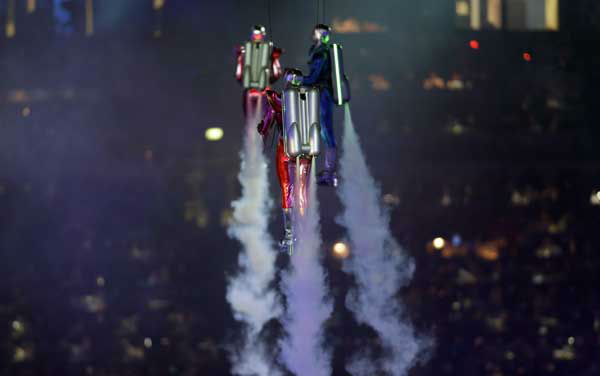 Rockets propelled artists perfrom during the Opening Ceremony at the 2012 Summer Olympics, Friday, July 27, 2012, in London. &#40;AP Photo&#47;Eric Gay&#41; <span class=meta>(AP Photo&#47; Eric Gay)</span>