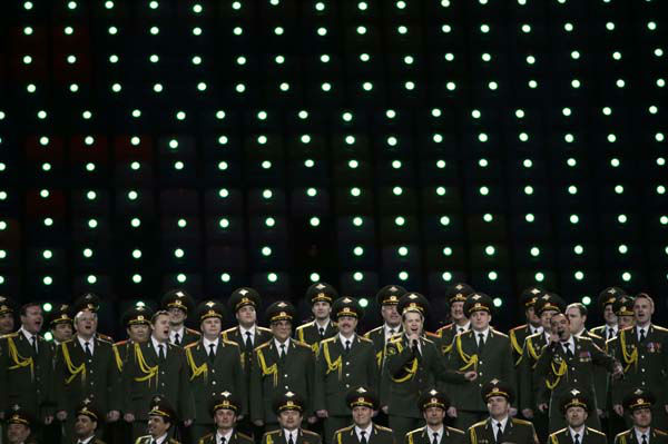 The Russian Interior Ministry choir perform prior to the opening ceremony of the 2014 Winter Olympics in Sochi, Russia, Friday, Feb. 7, 2014. &#40;AP Photo&#47;Mark Humphrey&#41; <span class=meta>(Photo&#47;Mark Humphrey)</span>