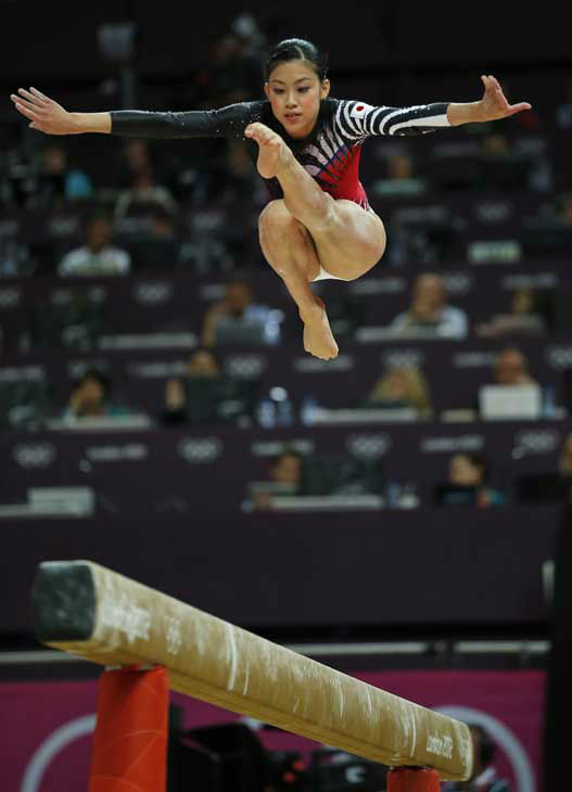 Japanese gymnast Yuko Shintake performs on the balance beam during the Artistic Gymnastics women&#39;s team final at the 2012 Summer Olympics, Tuesday, July 31, 2012, in London. &#40;AP Photo&#47;Matt Dunham&#41; <span class=meta>(AP Photo&#47; Matt Dunham)</span>