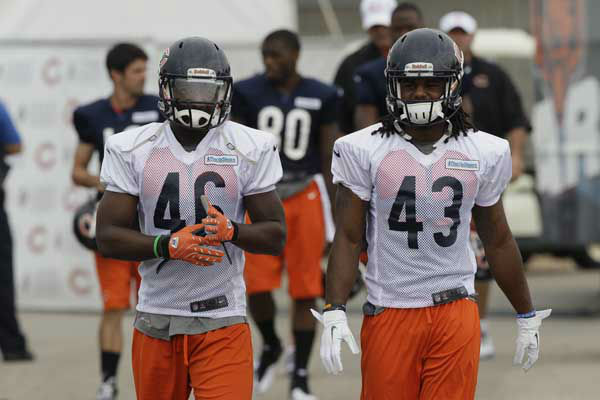 Chicago Bears safety Jeremy Jones &#40;46&#41;, left, and safety Trevor Coston &#40;43&#41; walk to the field during NFL football training camp at Olivet Nazarene University in Bourbonnais, Ill., Thursday, July 26, 2012. &#40;AP Photo&#47;Nam Y. Huh&#41; <span class=meta>(AP Photo&#47; Nam Y. Huh)</span>