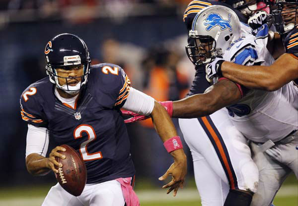 Chicago Bears quarterback Jason Campbell &#40;2&#41; scrambles against the Detroit Lions in the first half of an NFL football game in Chicago, Monday, Oct. 22, 2012. Campbell came in for one play after starting quarterback Jay Cutler left the game after taking a sack from Lions defensive tackle Ndamukong Suh. &#40;AP Photo&#47;Charles Rex Arbogast&#41; <span class=meta>(AP Photo&#47; Charles Rex Arbogast)</span>