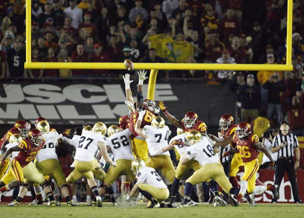 Notre Dame kicker Kyle Brindza &#40;27&#41; makes his fifth field goal of the night against Southern California, during the second half of an NCAA college football game, Saturday, Nov. 24, 2012, in Los Angeles. Notre Dame won 22-13. &#40;AP Photo&#47;Danny Moloshok&#41; <span class=meta>(AP Photo&#47; Danny Moloshok)</span>