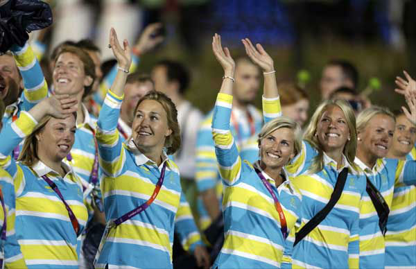 Swedish athletes parade during the Opening Ceremony at the 2012 Summer Olympics, Friday, July 27, 2012, in London. &#40;AP Photo&#47;David Goldman&#41; <span class=meta>(AP Photo&#47; David Goldman)</span>