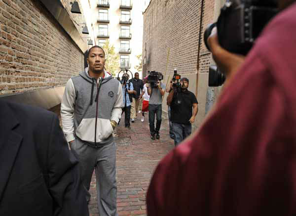 Chicago Bulls&#39; Derrick Rose arrives for a news conference to unveilhis new shoe the Adidas D Rose 3 in Chicago, Thursday, Sept. 13, 2012. &#40;AP Photo&#47;Paul Beaty&#41; <span class=meta>(AP Photo&#47; Paul Beaty)</span>