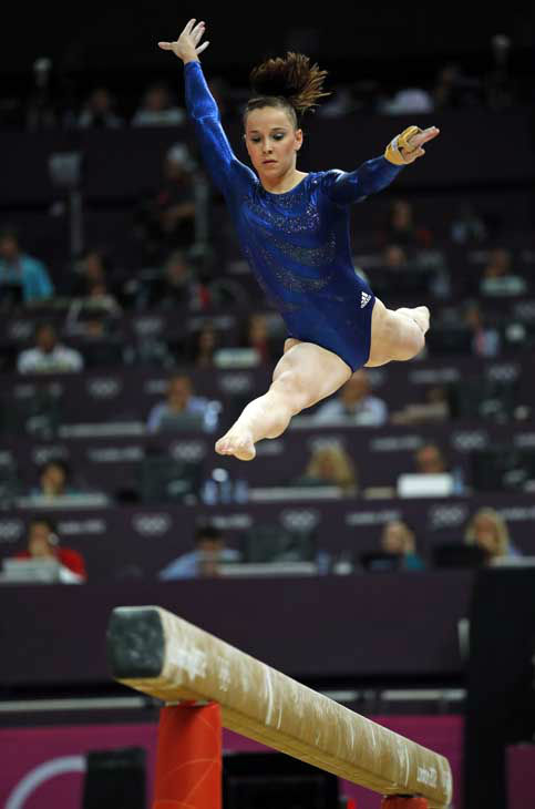 Gymnast Hannah Whelan from Britain performs on the balance beam during the Artistic Gymnastics women&#39;s team final at the 2012 Summer Olympics, Tuesday, July 31, 2012, in London. &#40;AP Photo&#47;Matt Dunham&#41; <span class=meta>(AP Photo&#47; Matt Dunham)</span>