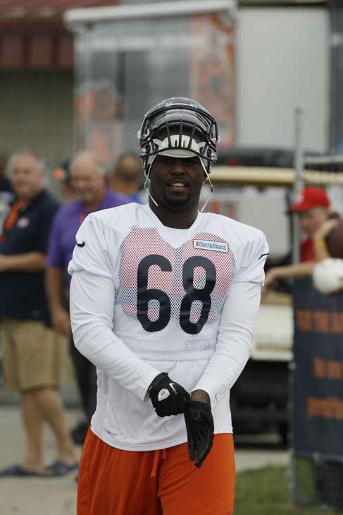 Chicago Bears defensive tackle DeMario Pressley walks to the field during NFL football training camp at Olivet Nazarene University in Bourbonnais, Ill., Thursday, July 26, 2012. &#40;AP Photo&#47;Nam Y. Huh&#41; <span class=meta>(AP Photo&#47; Nam Y. Huh)</span>
