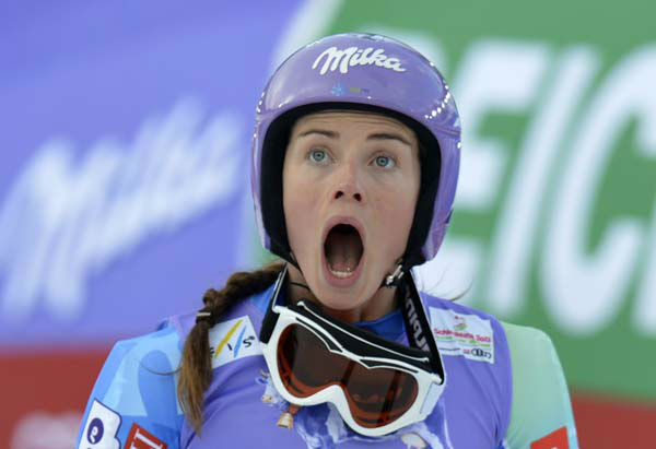Slovenia&#39;s?Tina Maze reacts as she see United States&#39;?Lindsey?Vonn crashing during the women&#39;s super-G at the Alpine skiing world championships in Schladming, Austria, Tuesday, Feb.5,2013. &#40;AP Photo&#47;Kerstin Joensson&#41; <span class=meta>(AP Photo&#47; Kerstin Joensson)</span>