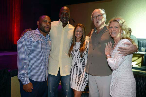 From left, actor Anthony Anderson, Charlotte Bobcats owner Michael Jordan and his fiancee model Yvette Prieto, actor Chevy Chase and wife Jayni Chase attend the Michael Jordan Celebrity Invitational opening night dinner, Wednesday, April, 3, 2013 in Las Vegas. &#40;Photo by Jeff Bottari&#47;Invision for Jordan&#47;AP Images&#41; <span class=meta>(AP Photo&#47; Jeff Bottari)</span>