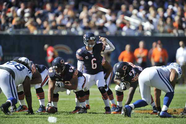 Chicago Bears quarterback Jay Cutler &#40;6&#41; calls a play from the line of scrimmage during the second half of an NFL football game against the Indianapolis Colts in Chicago, Sunday, Sept. 9, 2012. &#40;AP Photo&#47;Jim Prisching&#41; <span class=meta>(AP Photo&#47; Jim Prisching)</span>