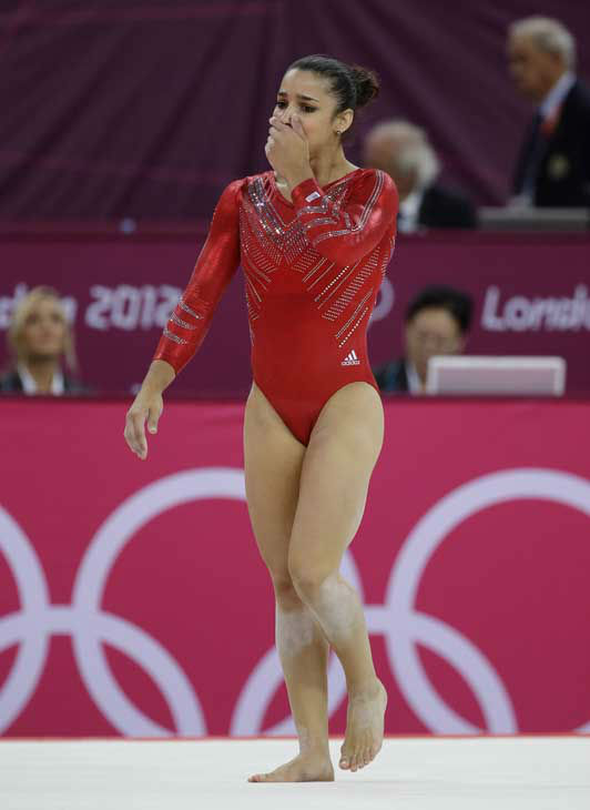 U.S. gymnast Alexandra Raisman walks off the floor after the last and deciding exercise during the Artistic Gymnastics women&#39;s team final at the 2012 Summer Olympics, Tuesday, July 31, 2012, in London. &#40;AP Photo&#47;Julie Jacobson&#41; <span class=meta>(AP Photo&#47; Julie Jacobson)</span>
