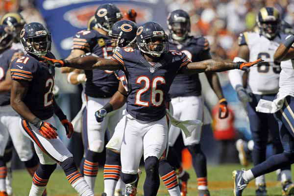 Chicago Bears cornerback Tim Jennings &#40;26&#41; reacts after breaking up a pass against the St. Louis Rams in the second half of an NFL football game in Chicago, Sunday, Sept. 23, 2012. The Bears won 23-6. &#40;AP Photo&#47;Charles Rex Arbogast&#41; <span class=meta>(AP Photo&#47; Charles Rex Arbogast)</span>
