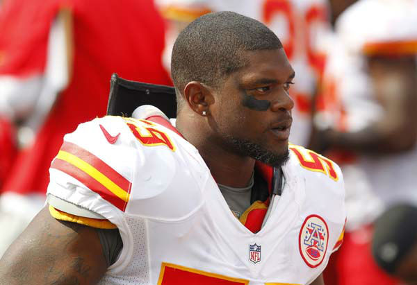 Kansas City Chiefs&#39; Jovan Belcher &#40;59&#41; stands on the sidelines during an NFL football game against the Buffalo Bills in Orchard Park, N.Y., Sunday, Sept. 16, 2012. &#40;AP Photo&#47;Bill Wippert&#41; <span class=meta>(AP Photo&#47; Bill Wippert)</span>