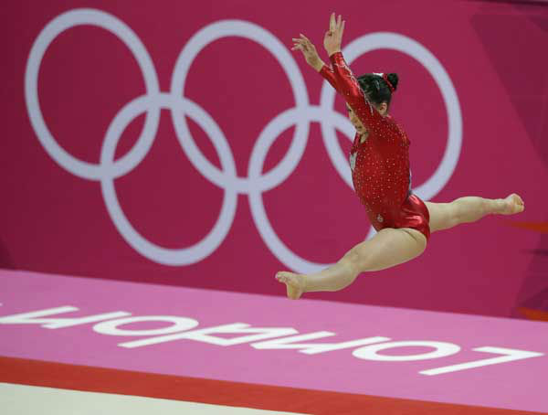 "<div class=""meta ""><span class=""caption-text "">Canadian gymnast Victoria Moors performs on the floor during the Artistic Gymnastic women's team final at the 2012 Summer Olympics, Tuesday, July 31, 2012, in London. (AP Photo/Gregory Bull) (AP Photo/ Gregory Bull)</span></div>"