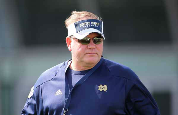 Notre Dame Head Football Coach Brian Kelly during a training session at the Aviva Stadium, Dublin, Ireland, Thursday, Aug. 30, 2012.  American college football team Notre Dame play the Navy team on Saturday in Dublin.  &#40;AP Photo&#47;Peter Morrison&#41; <span class=meta>(AP Photo&#47; Peter Morrison)</span>