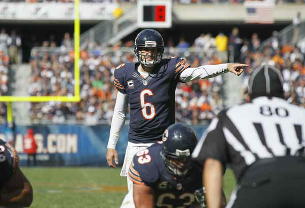 "<div class=""meta image-caption""><div class=""origin-logo origin-image ""><span></span></div><span class=""caption-text"">Chicago Bears quarterback Jay Cutler (6) calls the play before taking a snap in the line of scrimmage in the second half of an NFL football game against the St. Louis Rams in Chicago, Sunday, Sept. 23, 2012. (AP Photo/Charles Rex Arbogast) (AP Photo/ Charles Rex Arbogast)</span></div>"