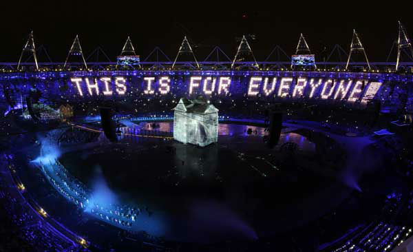 Audience members holding LED panels light up the stadium during the Opening Ceremony at the 2012 Summer Olympics, Friday, July 27, 2012, in London. &#40;AP Photo&#47;Morry Gash&#41; <span class=meta>(AP Photo&#47; Morry Gash)</span>