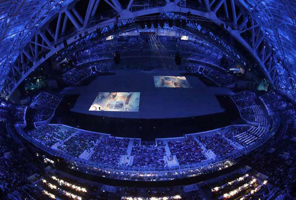 "<div class=""meta ""><span class=""caption-text "">An image is projected on the floor during the opening ceremony of the 2014 Winter Olympics in Sochi, Russia, Friday, Feb. 7, 2014. (AP Photo/David J. Phillip ) (Photo/David J. Phillip)</span></div>"
