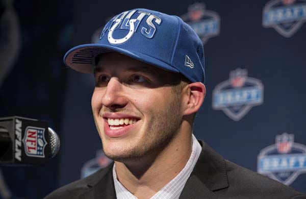 Florida State&#39;s Bjoern Werner addresses a news conference after being selected 24th by the Indianapolis Colts during the first round of the NFL Draft, Thursday, April 25, 2013 at Radio City Music Hall in New York.&#40;AP Photo&#47;Craig Ruttle&#41; <span class=meta>(AP Photo&#47; Craig Ruttle)</span>