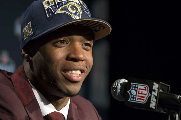 "<div class=""meta ""><span class=""caption-text "">Tavon Austin, from West Virginia, speaks during a news conference after being selected eighth overall by the St. Louis Rams during the first round of the NFL football draft, Thursday, April 25, 2013, at Radio City Music Hall in New York. (AP Photo/Craig Ruttle) (AP Photo/ Craig Ruttle)</span></div>"