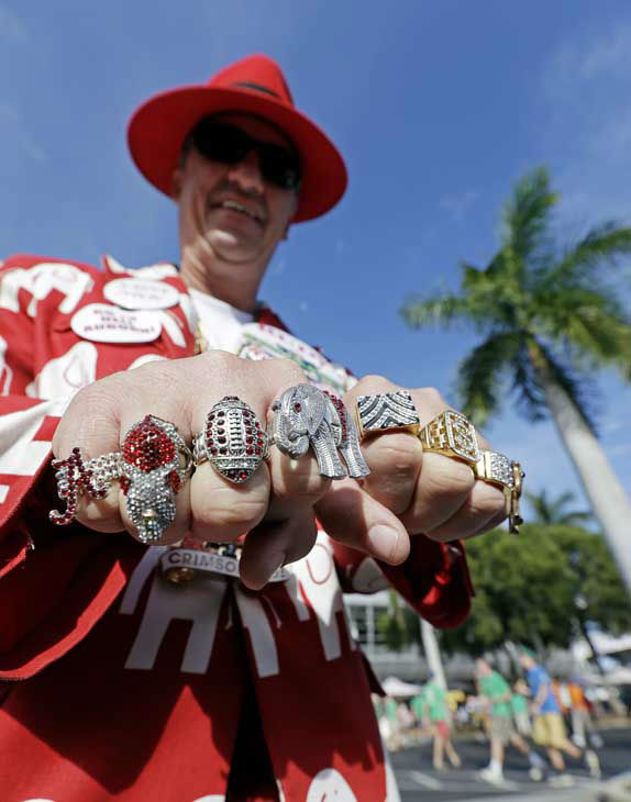 "<div class=""meta ""><span class=""caption-text "">Robin Albano of Decatur, Ala., shows off his rings outside Sun Life Stadium before the BCS National Championship college football game between the Alabama and the Notre Dame Monday, Jan. 7, 2013, in Miami. (AP Photo/Chris O'Meara) (Photo/Chris O'Meara)</span></div>"