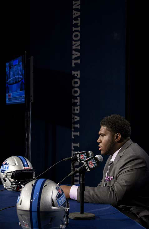 Alabama&#39;s Chance Warmack attends a news conference after being selected 10th overall by the Tennessee Titans during the first round of the NFL football draft, Thursday, April 25, 2013, at Radio City Music Hall in New York. &#40;AP Photo&#47;Craig Ruttle&#41; <span class=meta>(AP Photo&#47; Craig Ruttle)</span>