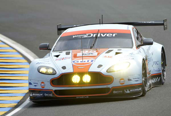 The Aston Martin Vantage GTE driven by Allan Simonsen of Denmark, is seen in action during the 90th 24-hour Le Mans endurance race, in Le Mans, western France, Saturday, June 22, 2013. &#40;AP Photo&#47;Michel Spingler&#41; <span class=meta>(AP Photo&#47; Michel Spingler)</span>
