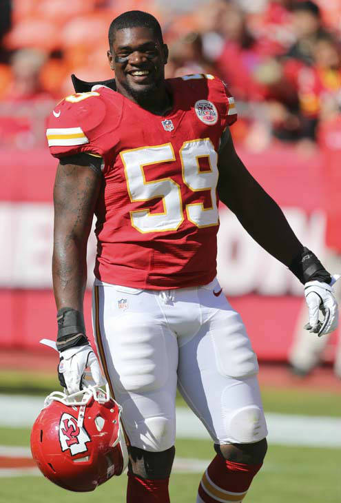 Kansas City Chiefs inside linebacker Jovan Belcher warms up prior to an NFL football game against the Baltimore Ravens Sunday, Oct. 7, 2012, in Kansas City, Mo.  &#40;AP Photo&#47;Ed Zurga&#41; <span class=meta>(AP Photo&#47; Ed Zurga)</span>