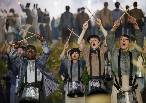 Performers play drums during the Opening Ceremony at the 2012 Summer Olympics, Friday, July 27, 2012, in London. &#40;AP Photo&#47;Matt Dunham&#41; <span class=meta>(AP Photo&#47; Matt Dunham)</span>