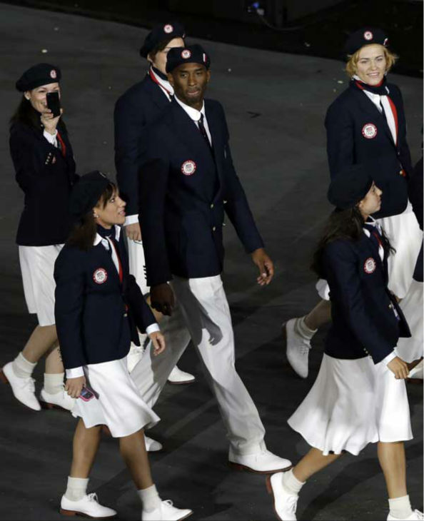 United States&#39; Kobe Bryant marches among teammates during the Opening Ceremony at the 2012 Summer Olympics, Friday, July 27, 2012, in London. &#40;AP Photo&#47;Paul Sancya&#41; <span class=meta>(AP Photo&#47; Paul Sancya)</span>