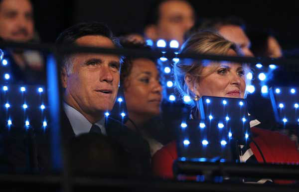 U.S. Republican Presidential candidate Mitt Romney, left, and his wife Ann, right, watch the Opening Ceremony at the 2012 Summer Olympics, Friday, July 27, 2012, in London. &#40;AP Photo&#47;Jae C. Hong&#41; <span class=meta>(AP Photo&#47; Jae C. Hong)</span>
