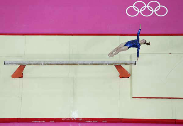Gymnast Jennifer Pinches from Britain performs on the balance beam during the Artistic Gymnastic women&#39;s team final at the 2012 Summer Olympics, Tuesday, July 31, 2012, in London. &#40;AP Photo&#47;Julie Jacobson&#41; <span class=meta>(AP Photo&#47; Julie Jacobson)</span>