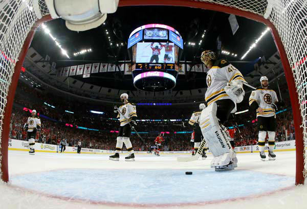 Boston Bruins goalie Tuukka Rask &#40;40&#41; reacts after giving up a goal by Chicago Blackhawks left wing Brandon Saad &#40;20&#41; during the second period of Game 1 in their NHL Stanley Cup Final hockey series, Wednesday, June 12, 2013, in Chicago. &#40;AP Photo&#47;Bruce Bennett, Pool&#41; <span class=meta>(AP Photo&#47; Bruce Bennett)</span>