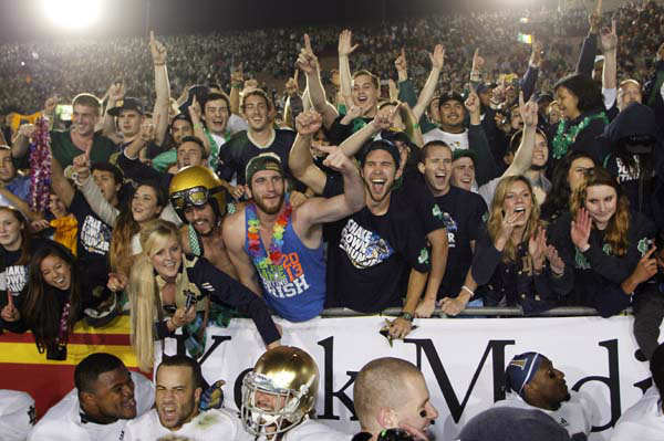 "<div class=""meta ""><span class=""caption-text "">Notre Dame fans celebrate with team members after defeating Southern California in an NCAA college football game, Saturday, Nov. 24, 2012, in Los Angeles. (AP Photo/Danny Moloshok) (AP Photo/ Danny Moloshok)</span></div>"