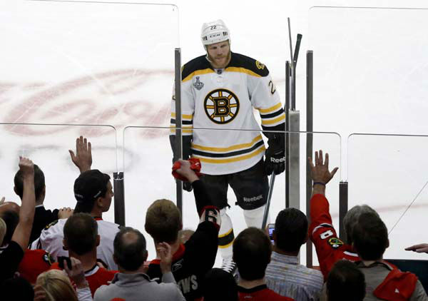 "<div class=""meta image-caption""><div class=""origin-logo origin-image ""><span></span></div><span class=""caption-text"">Fans react as Boston Bruins right wing Shawn Thornton (22) goes into the penalty box during the second period of Game 1 in their NHL Stanley Cup Final hockey series between the Chicago Blackhawks and the Bruins, Wednesday, June 12, 2013 in Chicago. (AP Photo/Charles Rex Arbogast) (AP Photo/ Charles Rex Arbogast)</span></div>"