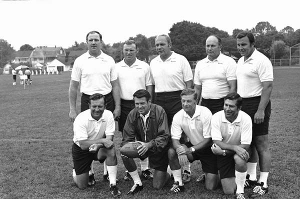 Washington Redskins coaching staff shown July 22, 1973.    Left to right, standing: Jack Pardee; Ralph Hawkins; Bill Austin; Lavern Torgeson and Dick Bielski.     Kneeling, left to right: Ted Marchibroda; head coach George Allen; Charlie Waller and Paul Lanham. &#40;AP Photo&#47; Paul Vathis&#41; <span class=meta>(AP Photo&#47; Paul Vathis)</span>