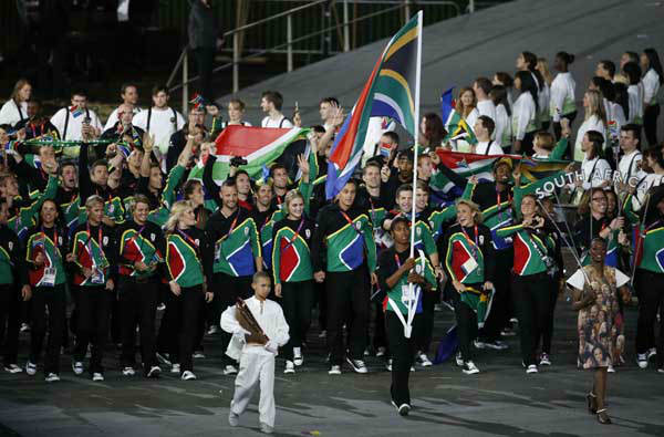 South Africa&#39;s Caster Semenya carries the flag during the Opening Ceremony at the 2012 Summer Olympics, Friday, July 27, 2012, in London. &#40;AP Photo&#47;Jae C. Hong&#41; <span class=meta>(AP Photo&#47; Jae C. Hong)</span>