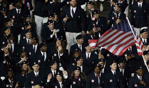 "<div class=""meta ""><span class=""caption-text "">The United States team parade during the Opening Ceremony at the 2012 Summer Olympics, Friday, July 27, 2012, in London. (AP Photo/Paul Sancya) (AP Photo/ Paul Sancya)</span></div>"