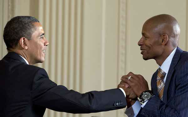 President Barack Obama shakes hand with Miami Heat guard Ray Allen as he welcomes the NBA basketball champion Miami Heat to the East Room of the White House, Monday, Jan. 28, 2013, in Washington. &#40;AP Photo&#47;Carolyn Kaster&#41; <span class=meta>(Photo&#47;Carolyn Kaster)</span>