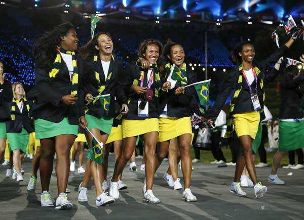 Brazil&#39;s athletes parade during the Opening Ceremony at the 2012 Summer Olympics, Friday, July 27, 2012, in London. &#40;AP Photo&#47;Matt Dunham&#41; <span class=meta>(AP Photo&#47; Matt Dunham)</span>