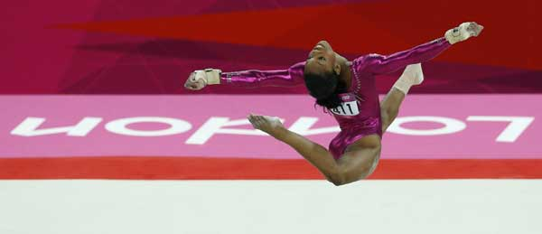 U.S. gymnast Gabrielle Douglas performs on the floor during the artistic gymnastics women&#39;s individual all-around competition final at the 2012 Summer Olympics, Thursday, Aug. 2, 2012, in London.  <span class=meta>(AP Photo&#47;Matt Dunham)</span>