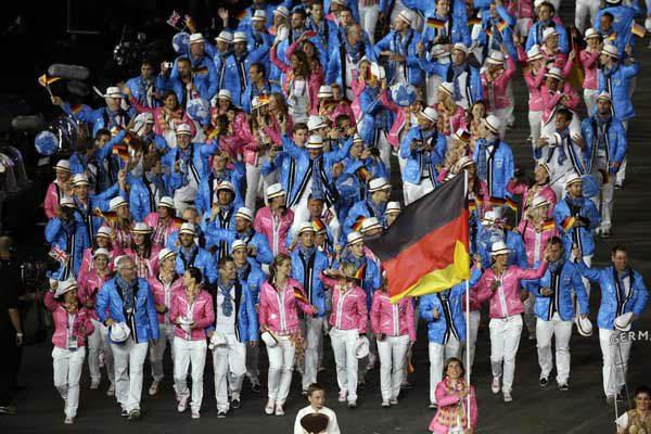 Germany&#39;s Natascha Keller carries the flag during the Opening Ceremony at the 2012 Summer Olympics, Friday, July 27, 2012, in London. &#40;AP Photo&#47;Paul Sancya&#41; <span class=meta>(AP Photo&#47; Paul Sancya)</span>