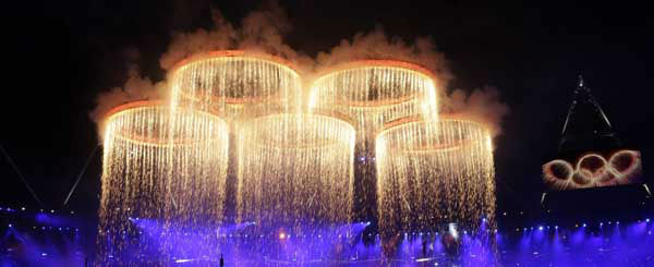 "<div class=""meta ""><span class=""caption-text "">The Olympic rings are lit with pyrotechnics during the Opening Ceremony at the 2012 Summer Olympics, Friday, July 27, 2012, in London. (AP Photo/David Goldman) (AP Photo/ David Goldman)</span></div>"
